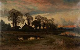 Sale 9133 - Lot 557 - John Horace Hooper (1851 - 1906) Countryscape with Cottage & Two Figures oil on canvas (AF - tears upper left ) 59 x 89.5 cm (frame:...