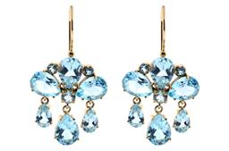 Sale 9160 - Lot 351 - A PAIR OF GIRANDOLE STYLE 9CT GOLD GEMSET EARRINGS; each set with round and pear cut blue topaz, to further pear cut blue topaz frin...