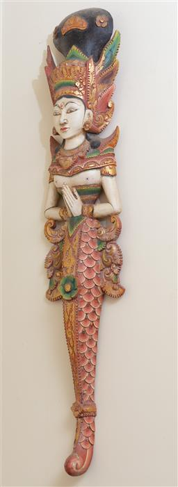 Sale 9164H - Lot 36 - A pair of polychrome Thai deity temple guards in pinks, greens and gold, Height 94cm