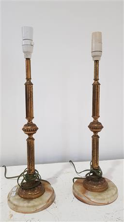 Sale 9157 - Lot 1092 - Pair of brass and alabaster table lamps (h:56cm)