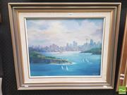 Sale 8413T - Lot 2016 - Johanna Geluk - Sydney Harbour from North Head, 1989, oil on canvas board, 39.5 x 49.5cm, signed lower right