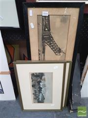 Sale 8449 - Lot 2016 - Framed Reproduction Photographs of Sydney Harbour Bridge Construction & 2 x Hand-Coloured Engravings, various sizes