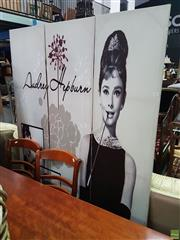 Sale 8601 - Lot 1084 - Modern Three Panel Wall Screen Depicting Audrey Hepburn