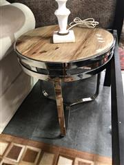 Sale 8769 - Lot 1051 - Round Stainless Steel Lamp Table