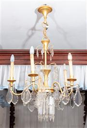 Sale 8804A - Lot 157 - A five-branch chandelier with glass lustres and prismatic drops, drop H 108cm