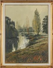 Sale 8895 - Lot 2066 - Ian Webb (1943 - ) - Along the River 59.5 x 44cm, 70.5 x 55cm (frame)