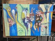 Sale 8906 - Lot 2036 - Nito Magupela - Mozambique Birds acrylic on canvas, 61.5 x 89 cm, signed lower right