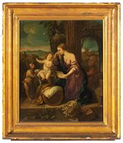 Sale 8976H - Lot 86 - After Guido Reni (Bologna 1575-1642)The Holy Family with the virgin, Joseph and the young christ with John the Baptist. oil on canva...