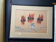 Sale 8995 - Lot 2096 - Kathleen Caine Sturt Desert Peas & Fat-Tailed Dunnart pastel on paper, 49 x 62cm (frame)