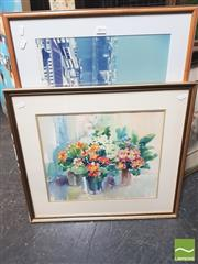Sale 8413T - Lot 2093 - Joan Mors - Still Life, watercolour, & Framed Decorative Print of London