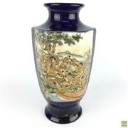 Sale 8589R - Lot 83 - Meiji Period Satsuma Hexagonal Vase depicting Village and Battle Scenes (H: 26.5cm)