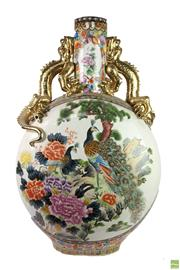 Sale 8621 - Lot 20 - Pair of Oversize Moon Flask Vases with Gilt Dragon Handles (H: 110cm x W: 70cm)