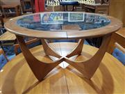 Sale 8705 - Lot 1096 - G Plan Atmos Circular Teak Coffee Table with Glass Top