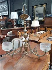 Sale 8868 - Lot 1044 - Victorian Style Brass Gasolier Ceiling Light, in the eclectic style, with three branches having etched glass shades
