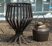 Sale 8902H - Lot 3 - An iron chalice form fire pit together with an iron bucket. Height of pit 44cm, diameter 33cm