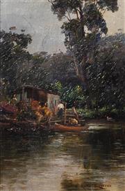 Sale 8947 - Lot 560 - Alfred Coffey (1869-1950) - Bush Hut Mooring, North Shore, c1900 24 x 14 cm (frame: 42 x 32 x 3 cm)