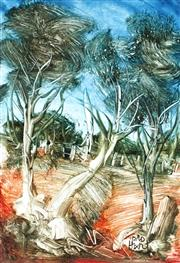 Sale 9038 - Lot 517 - Kevin Charles (Pro) Hart (1928 - 2006) - Gum Trees by the Fence 21 x 14 cm (frame: 41 x 33 x 2 cm)