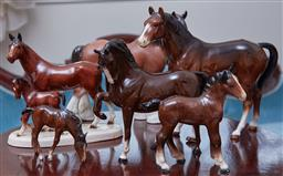 Sale 9103M - Lot 473 - A collection of brown horse figures including a matte example Height 20cm