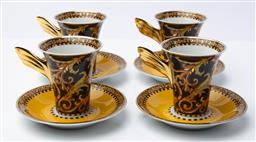Sale 9130S - Lot 34 - A Versace for Rosenthal part coffee service in the Barocco pattern, comprising of four cups & saucers