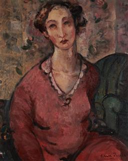 Sale 9133 - Lot 509 - Glen Preece (1957 - ) Girl in Red Dress oil on canvas on board 55.5 x 45 cm (frame: 76 x 66 x 5 cm) signed lower right