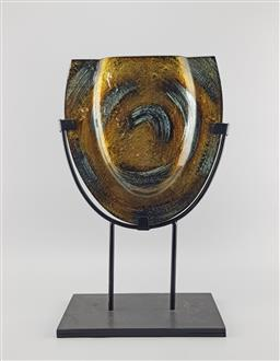 Sale 9134 - Lot 1050A - Postmodern gold and silver Adventurine glass vase on stand (h:43cm)
