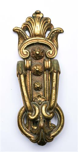 Sale 9144 - Lot 44 - Brass door knocker (L:23cm)