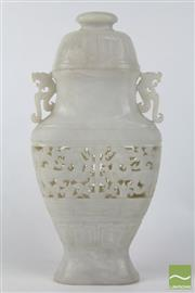 Sale 8490 - Lot 371 - White Chinese Carved Stone Lidded Vase With Dragon Handles