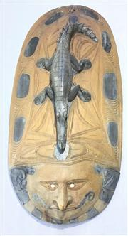Sale 8579 - Lot 33 - A Papua New Guinean crocodile mask carved from single piece of timber with missing shell eye, H 103 x W 52cm