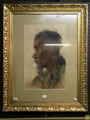 Sale 8648B - Lot 2061 - Artist Unknown - Portrait of a Vietnamese Elder, pastel, 43.5 x 27.5cm (frame: 70.5 x 56cm), unsigned -