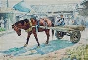 Sale 8773A - Lot 5099 - Jasim Al Fadil (1930 - ) - Horse-Drawn Cart, Iraq c1970 30 x 40cm