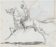 Sale 8947 - Lot 559 - George Washington Lambert (1873 - 1930) - Galloped Away… As Fast As The Horse Could Lay Legs To The Ground, 1895 22 x 25 cm (frame...