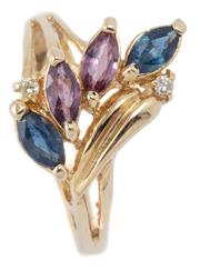 Sale 9046 - Lot 314 - A 12CT GOLD STONE SET RING; set across the top with 2 blue and 2 purple marquise cut sapphires and 2 small round brilliant cut diamo...