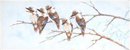 Sale 9084 - Lot 578 - Alice Cayley (1889 - 1960) - Kookaburra 11 x 28 cm (frame: 31 x 45 x 4 cm)