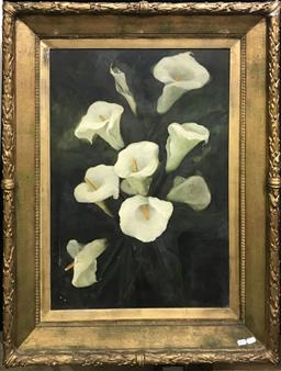 Sale 9106 - Lot 2015 - Artist Unknown (Early C20th) Calla Lilies oil on canvas (AF), 107 x 80cm (frame)  unsigned