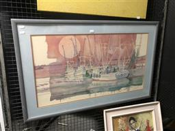 Sale 9147 - Lot 2028 - Artist Unknown, Trawlers at the dock, signed decorative print, frame: 65 x 104 cm