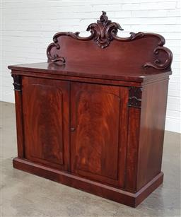 Sale 9196 - Lot 1062 - William IV Flame Mahogany Chiffonier, the low carved back, above lightly arched timber panel doors, flanked by Corinthian type pilas...