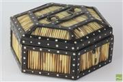 Sale 8540 - Lot 60 - Ceylon Hexagonal Porcupine Quill Jewellery Box