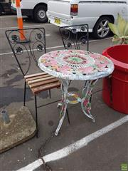 Sale 8601 - Lot 1202 - Painted Alloy Outdoor Table & Pair of Chairs (3)