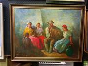 Sale 8627 - Lot 2043 - Artist Unknown (Hungarian School) - Accordion Session, oil on jute, 59 x 78cm, signed lower left