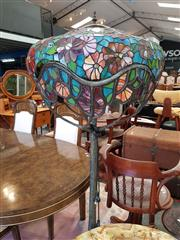 Sale 8676 - Lot 1176A - Leadlight Shade Lamp on Metal Floral Base (Damage to Shade)