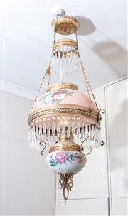 Sale 8804A - Lot 168 - A Millers hanging light with peach tones and floral decorated fond and shade with prismatic drops, drop H 100cm