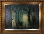 Sale 8995H - Lot 52 - Horse and carriage in the streetlight , Oil on canvas, signed Kimmy? In gilt frame 79 x 59cm
