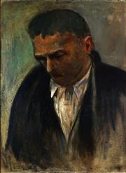 Sale 9001 - Lot 597 - Artist Unknown - Man in Contemplation 55 x 40 cm (frame: 69 x 54 x 5 cm)