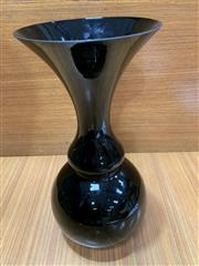 Sale 9022 - Lot 1015 - Vintage Scandinavian Hooped Black Vase possibly Kaj Franck (h:36cm)