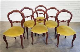 Sale 9191 - Lot 1066 - Set of 6 mahogany balloon back dining chairs (h:92 x w:46 x d:40cm)