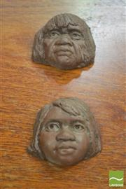 Sale 8310 - Lot 1031 - 2 Clay Pottery Native Busts