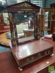 Sale 8500 - Lot 1011 - Empire Style Mahogany Toilet Mirror, with portico frame, gilt brass mounts & drawer below