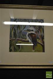 Sale 8495 - Lot 2041 - Julee Frazer Kookaburra, Acrylic on Canvas Board, Frame Size 56.5x56.5cm, SLR