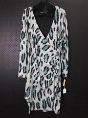 Sale 8514H - Lot 44 - Roberto Naldi of Italy Peacock Pattern Long Sleeve Dress - UK size 18