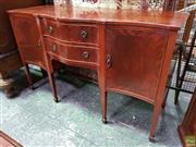 Sale 8576 - Lot 1019 - Georgian Style Serpentine Fronted Sideboard, fitted with two cross-banded drawers & doors, raised on tapering legs with spade feet